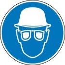Gebotszeichen - Augen- und Kopfschutz tragen