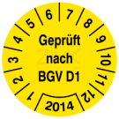 Prüfplaketten - Geprüft nach BGV D1