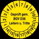 Prüfplaketten - Geprüft nach BGV D36 Leitern u Tritte