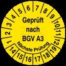 Prüfplaketten - Geprüft nach BGV  A3 Nächste Prüfung