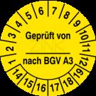Prüfplaketten - Geprüft von ... nach BGV A3