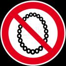 Verbotszeichen - Bedienung mit Halskette verboten