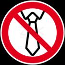 Verbotszeichen - Bedienung mit Krawatte verboten
