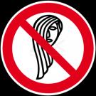 Verbotszeichen - Bedienung mit langen Haaren verboten