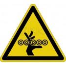 Warnzeichen - Warnung vor Einzugsgefahr (Förderrollen oben)