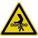 Warnzeichen - Warnung vor Einzugsgefahr (Förderrollen unten)