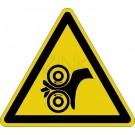 Warnzeichen - Warnung vor Einzugsgefahr (Walzen links)