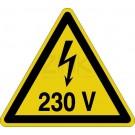 Warnzeichen - Warnung vor elektrischer Spannung 230 Volt