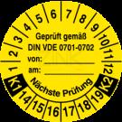 Prüfplaketten - Geprüft gemäß VDE 0701-0702 von … am … Nächste Prüfung k1-k2