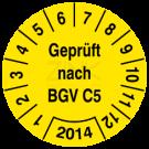 Prüfplaketten - Geprüft nach BGV C5