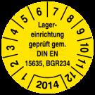 Prüfplaketten - Lagereinrichtung geprüft gem. DIN 15635, BGR 234