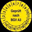 Prüfplaketten - Geprüft nach BGV A3